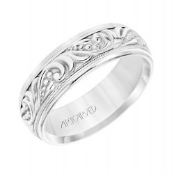 ArtCarved Paisley Pattern White Gold Comfort Fit Wedding Band