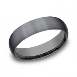 Benchmark Black Tantalum Comfort Fit Satin Dome Band, 6mm