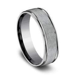 Benchmark Tantalum Swirl Center High-Polish Edge Comfort Fit Band, 6.5mm