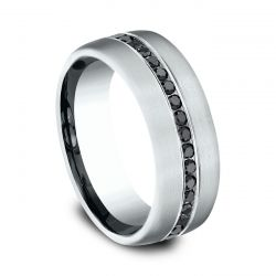 Benchmark White Gold Channel Set Black Diamond Comfort Fit 7.5mm Band 3/8ctw