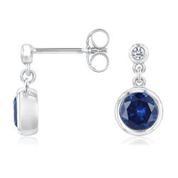 Bezel Set Created Blue Sapphire and Created White Sapphire Sterling Silver Earrings