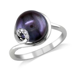 Black Freshwater Cultured Pearl and Diamond Sterling Silver Swirl Ring