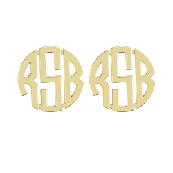 Alison and Ivy Block Monogram Stud Earrings 20mm