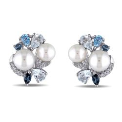 Blue Mixed Gemstone and White Freshwater Cultured Pearl Cluster Earrings in Sterling Silver