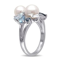 Blue Mixed Gemstone and White Freshwater Cultured Pearl Cluster Ring in Sterling Silver