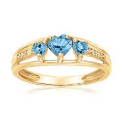 Blue Topaz Heart Gold Plated Diamond Accent Birthstone Ring