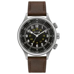 Bulova Archive Series Military A-15 Pilot Automatic Brown Leather Strap Watch 96A245