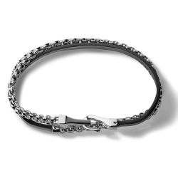 Bulova Classic Black Leather and Stainless Steel Double Wrap Bracelet