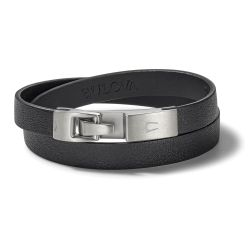 Bulova Classic Black Leather Double Wrap Bracelet