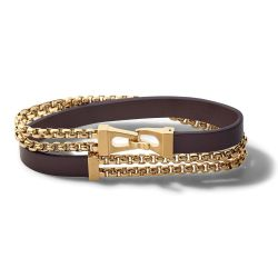Bulova Classic Brown Leather and Gold-Tone Stainless Steel Double Wrap Bracelet