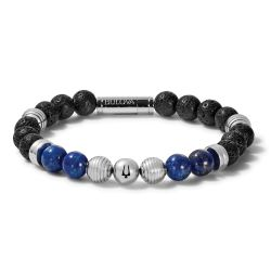 Bulova Classic Lapis Bead and Stainless Steel Bracelet