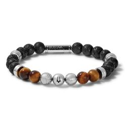 Bulova Classic Tiger's Eye Bead and Stainless Steel Bracelet
