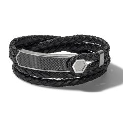 Bulova Precisionist Braided Black Leather Double Wrap Bracelet