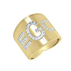 Alison and Ivy Cigar Band Block Font Diamond Monogram Ring 18mm