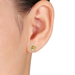 Citrine and Diamond Halo Yellow Gold Earrings 1/15ctw