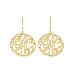 Alison and Ivy Classic Bordered Monogram Leverback Earrings 25mm