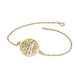 Alison and Ivy Classic Bordered Recessed Monogram Bracelet 20mm