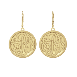 Alison and Ivy Classic Bordered Recessed Monogram Leverback Earrings 25mm