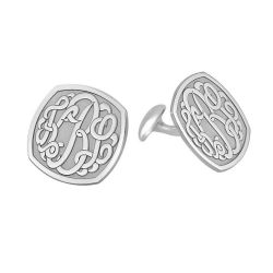 Alison and Ivy Classic Cushion Monogram Cufflinks 18mm