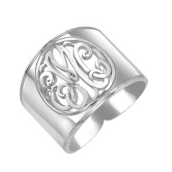 Alison and Ivy Classic Cutout Cigar Band Monogram Ring 18mm