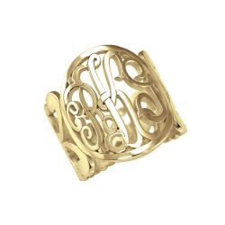 Alison and Ivy Classic Monogram Cuff Ring 18mm