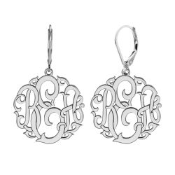 Alison and Ivy Classic Monogram Leverback Earrings 20mm