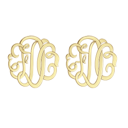 Alison and Ivy Classic Monogram Stud Earrings 20mm