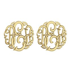 Alison and Ivy Classic Monogram Stud Earrings 20mm 88088E