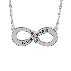 Alison and Ivy Couples Infinity Necklace with Birthstones 11x25mm