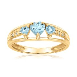 Created Aquamarine Heart Gold Plated Diamond Accent Birthstone Ring
