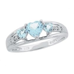 Created Aquamarine Heart Sterling Silver Diamond Accent Birthstone Ring
