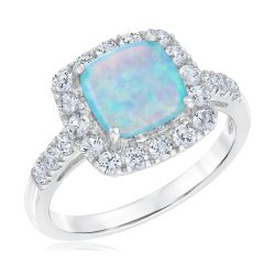 Created Blue Opal and Created White Sapphire Sterling Silver Ring