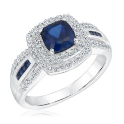 Created Blue Sapphire and Created White Halo Sapphire Sterling Silver Ring