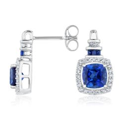 Created Blue Sapphire and Created White Sapphire Sterling Silver Earrings