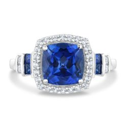 Created  Blue Sapphire and Created White Sapphire Sterling Silver Ring