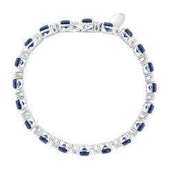 Created Blue Sapphire and Created White Sapphire Sterling Silver Tennis Bracelet