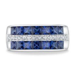 Created Blue Sapphire and Created White Three Row Sterling Silver Ring