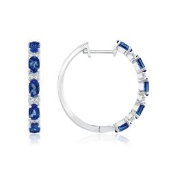 Created Ceylon Sapphire and Created White Sapphire Hoop Earrings