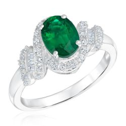 Created Emerald and Created White Sapphire Sterling Silver Ring