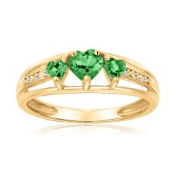 Created Emerald Heart Gold Plated Diamond Accent Birthstone Ring