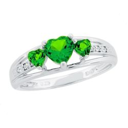 Created Emerald Heart Sterling Silver Diamond Accent Birthstone Ring