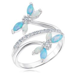 Created Opal and Created White Sapphire Dragonfly Ring