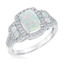 Created Opal and Created White Sapphire Sterling Silver Ring