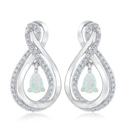 Created Opal and Created White Sapphire Teardrop Earrings