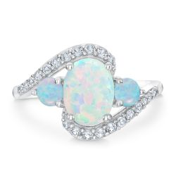 Created Opal and Created White Sapphire Three-Stone Sterling Silver Ring
