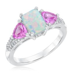 Created Opal, Created Pink Sapphire, and Created White Sapphire Three-Stone Ring