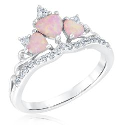 Created Pink Opal and Created White Sapphire Heart Tiara Ring