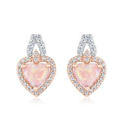Created Pink Opal and Created White Sapphire Two-Tone Heart Earrings