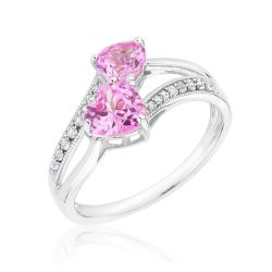 Created Pink Sapphire and Created White Sapphire Double Heart Ring
