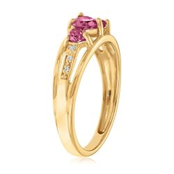 Created Ruby Heart Gold Plated Diamond Accent Birthstone Ring